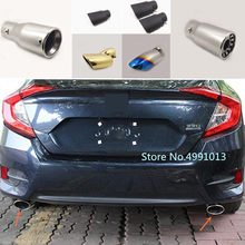 Voor Honda Civic 10th Sedan 2016 2017 2018 Auto styling cover uitlaat buitenkant end pijp wijden uitlaat tip tail outlet ornament(China)