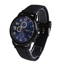 Nuevos Hombres Reloj de Cuarzo Analógico Ronda Dial Azul Del Gel de Silicona Banda Reloj de Pulsera Casual Sport Negro Hombres Relojes Masculinos montre homme