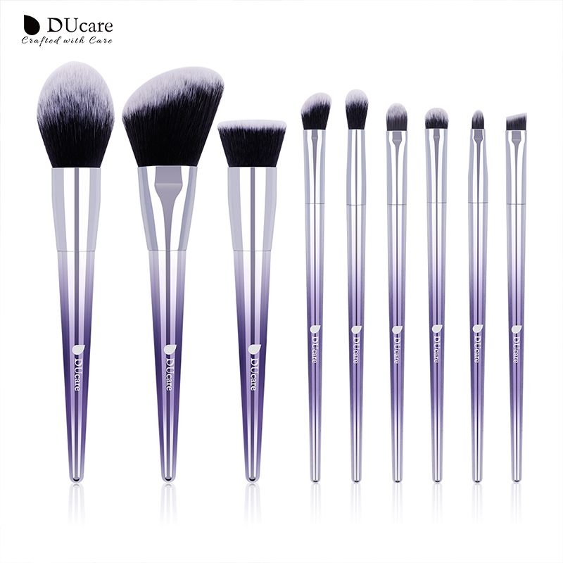 DUcare 9 PCS Makeup Brush Set Makeup Brushes Powder Eyeshadow Foundation Concealer Eyebrow Brush Cosmetic Tools top quality foundation brush angled makeup brush