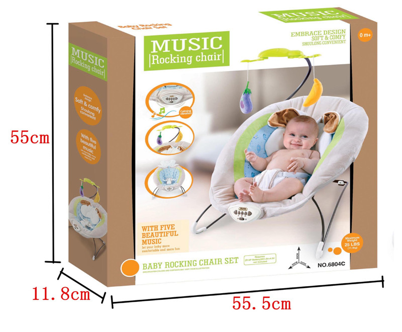 2017 New Gray Baby Electric Rocking Chair With Rabbit Pillow Kids Calming Vibration Music Rocking Bouncers,Jumpers & Swings08
