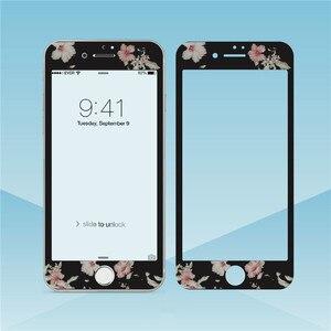 Image 2 - Fleurs beau verre trempé pour iPhone XS MAX XR 6s 8 7plus protecteur décran bord souple Film de protection pour iPhone 11 Pro Max