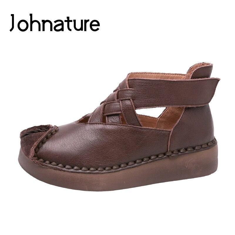 Johnature 2019 ใหม่ฤดูใบไม้ผลิ/ฤดูใบไม้ร่วงของแท้หนังผู้หญิงรองเท้า Retro Round Toe Casual Hook & Loop Wedges ปั๊ม-ใน รองเท้าส้นสูงสตรี จาก รองเท้า บน   1