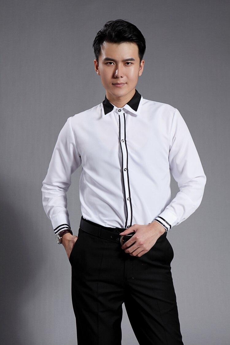 Vyrų juoda balta smokinga oficiali suknelės kostiumai vyriški - Vyriški drabužiai - Nuotrauka 4