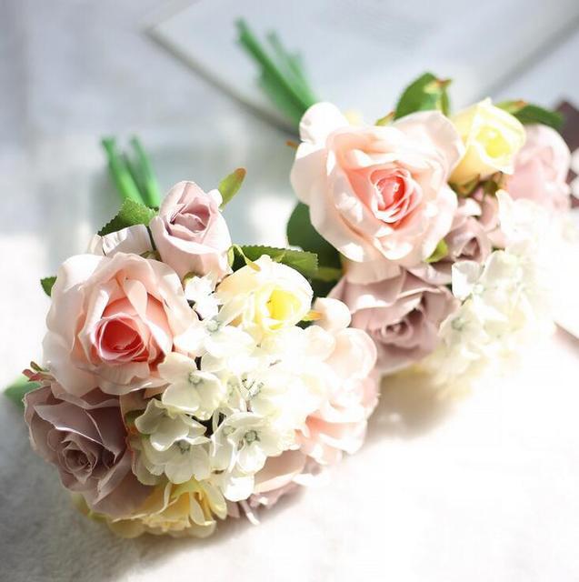 2017 Free Shipping Retro Champagne Pink White Artificial Silk Rose Hydrangea  Wedding Flower Bride Bridesmaid Bouquet