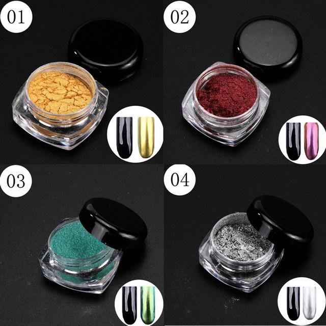 12 Cajas de Brillo Espejo Mágico Efecto Cromado Polvo Shimmer Polvo Del Arte Del Clavo de 12 Colores + 12 Cepillos GUB #