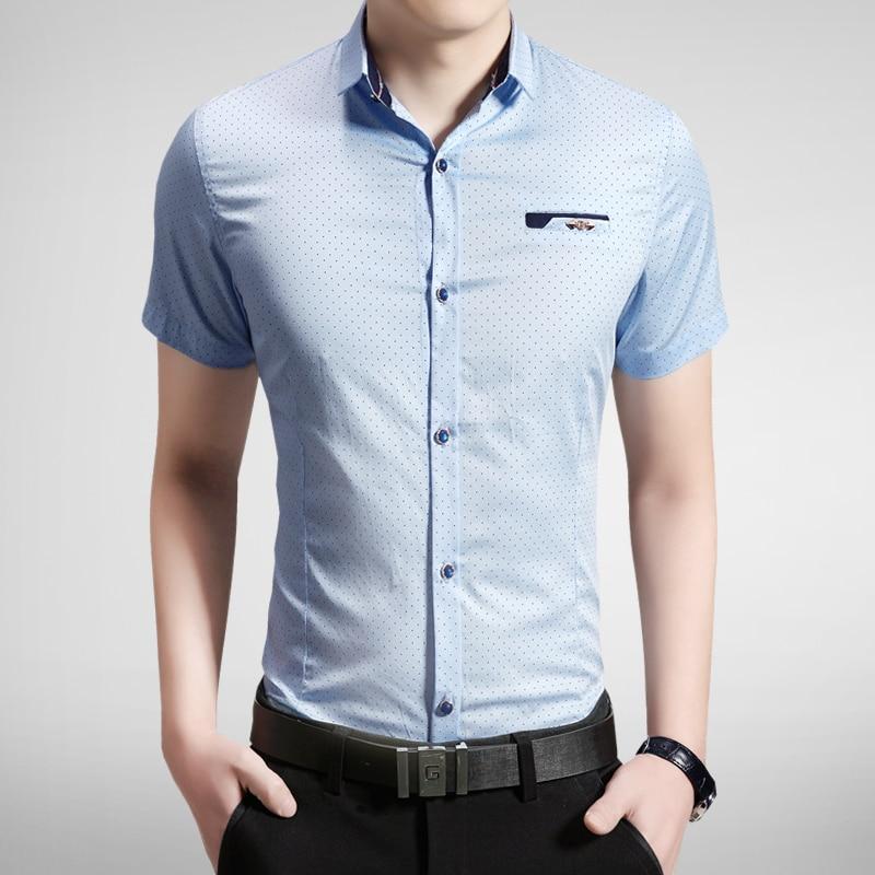 95422ad68694a 2016 New Fashion Casual Men Shirt Short Sleeve Polka Slim Fit Shirt Men  High Quality Thin Men Designer Shirts Men Clothes 5XL-in Casual Shirts from  Men s ...