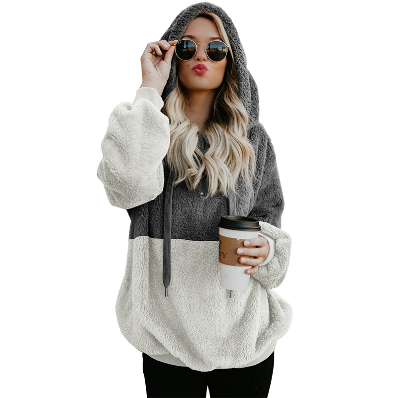 New Winter Women Casual Tops Zipper Warm Fleece Furry Colorblock Pullover Hoodies Sweatshirts Female Tracksuits Plus Size