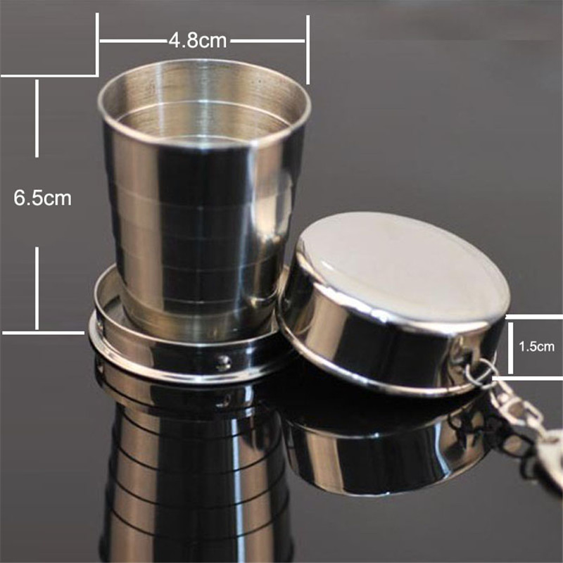 Steel Travel Telescopic Collapsible Stainless Steel Shot Glass Key Ring  Safety & Survival 5.15