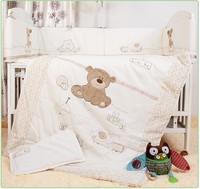 Promotion! 7PCS Embroidery Baby Crib Cot Bedding Set Quilt Bumper Sheet (bumpers+duvet+sheet+pillow) cot bedding set bedding set cot bedding -