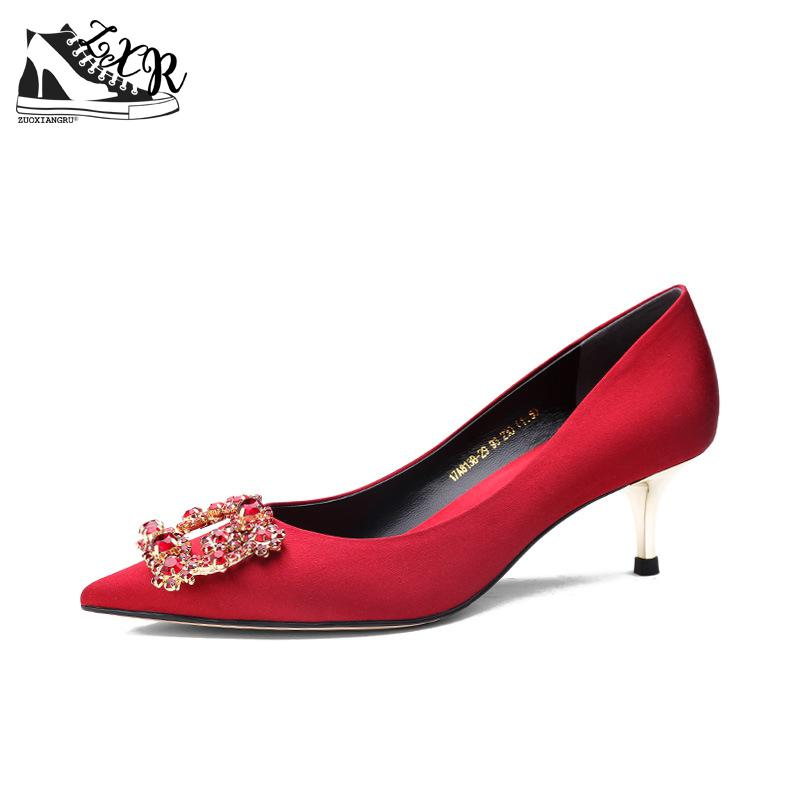 Vintage Bride Red Wedding Dress Shoes Sexy Silk Thin High Heels New Retro Crystal Women Pumps Party Elegant Ladies Footwear new pink red rhinestone diamond bride s shoes super high heels crystal bowl wedding shoes elegant sandals female pumps feminina