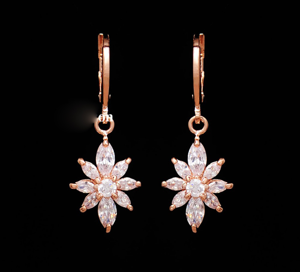 Fashion Gold Color Necklace Earrings Crystal Flower Pendant Women Jewelry Cz Crystal Bridal Jewelry Set Gift