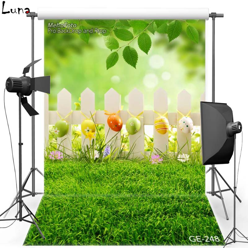 MEHOFOTO Happy Easter Vinyl Photography Background For Lawn Egg Railing New Fabric Flannl Backdrop For photo studio Props 248 retro background christmas photo props photography screen backdrops for children vinyl 7x5ft or 5x3ft christmas033