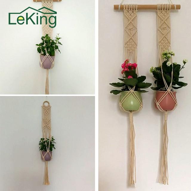 Handmade Plant Cotton Cord Macrame Plant Hanger Flower Pot Holder Houseplant Rope Hanging Basket Holder Tassel Garden Home Decor
