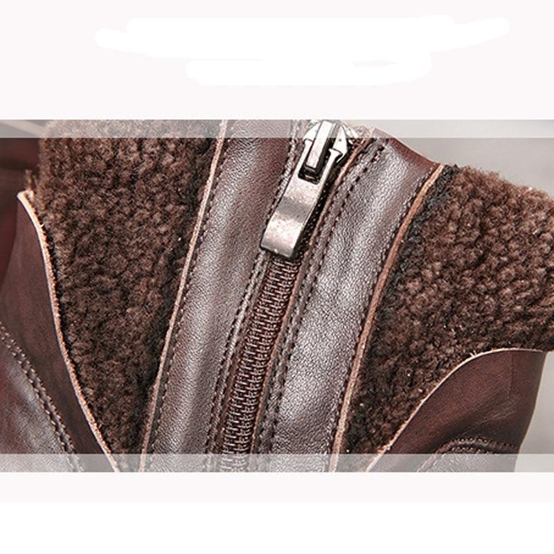 Las Hecho marrón Negro Mano Mujeres De Cuero Otoño Cuñas Nuevos Invierno E Zapatos A Botas Ocasional Gamuza RSyKX0y