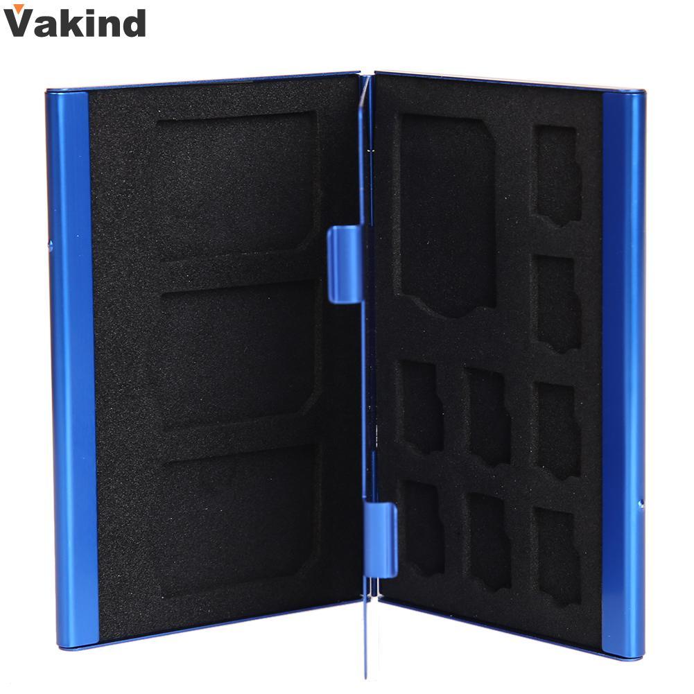 Blue Portable Case Deck Aluminium Alloy 8TF + 4SD Memory Cards Storage Box Holder For 4pcs SD card+8pcs TF card(Micro SD card) 8 in 1 memory card storage case holder for ps vita translucent black