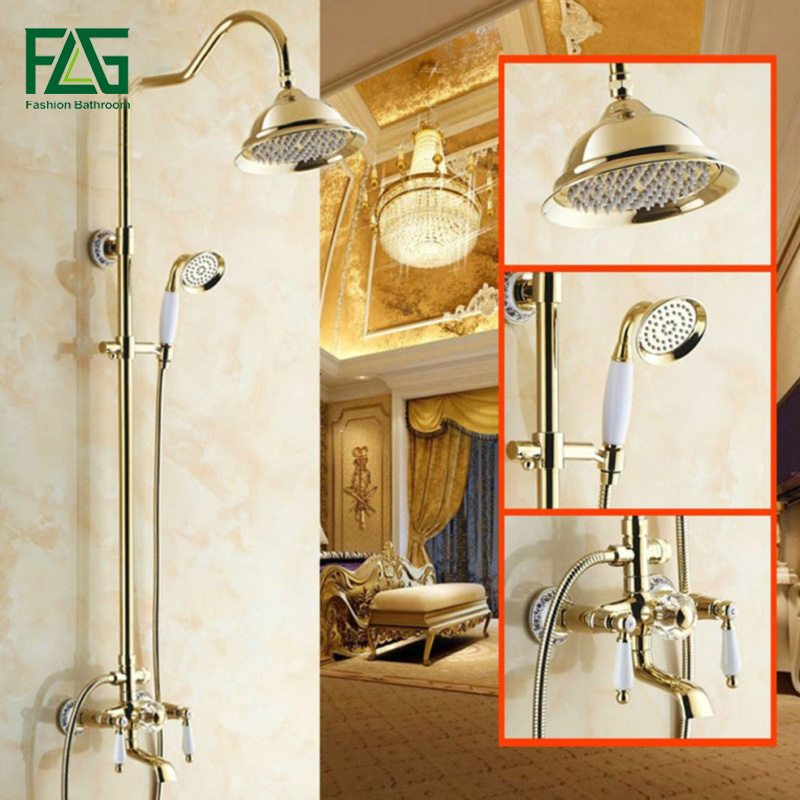 FLG Rainfall Shower Faucet With Slide Bar Tub Faucet Three Handle Shower Set Porcelain Golden Bronze Wall Mounted Faucets HS035