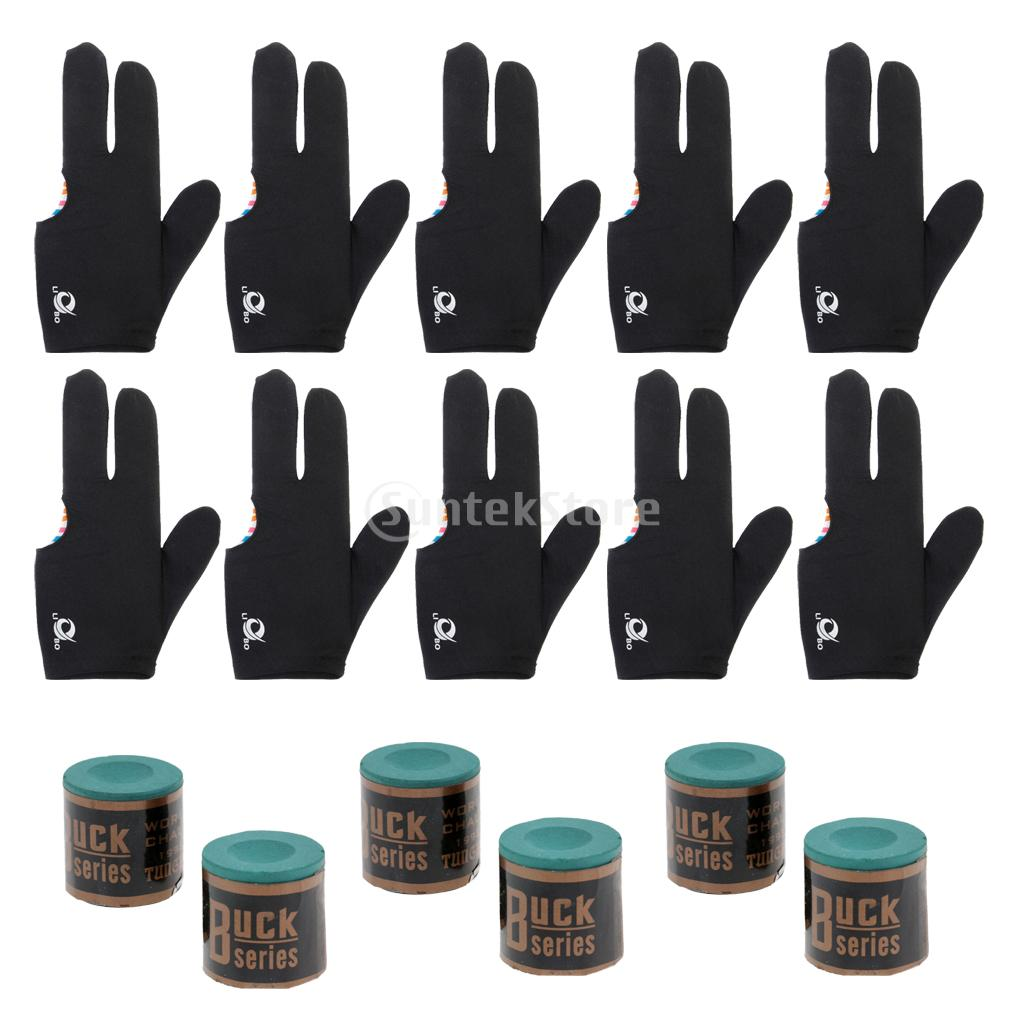 6 Snooker Pool Cue Tip Table Billiard Chalk + 10pcs 3 Finger Billiards Glove