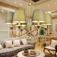 Винтаж Домашнее освещение люстры Indoor Спальня светильники серый зеленый ткани абажур Медь железа люстра E14 110 240 В