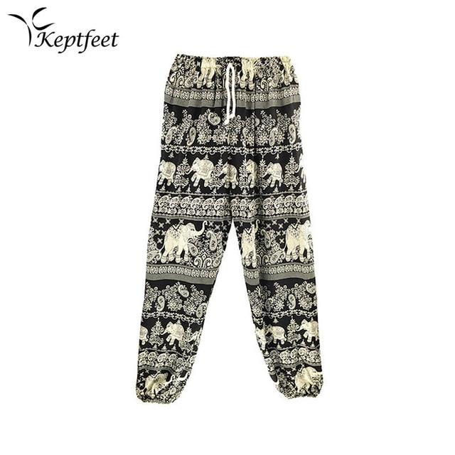 dcceb9a034 Thailand Women Elastic Waist Rayon Unisex Elephant Yoga Pants Print Aladdin  Harem Pants Trousers Bloomers