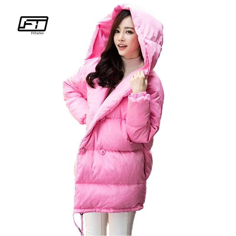 Зимние женские свободная посадка пальто Модная симпатичная куртка с капюшоном пальто средний повседневные Большие размеры утка вниз пальт...
