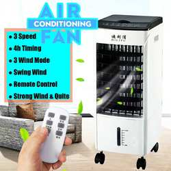 Air Conditioner Cooler Fan Ice Purifier Humidifier Remote Control & Hour Timer 220V 65W 3 Wind Modes With 4 Bottles Ice Crystal