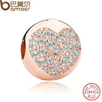 Authentic 925 Sterling Silver Love Of My Life Clip Rose CZ Charms Fit Pandora Bracelet Necklace