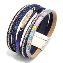 Bracelet leather wide retro multi-layer bracelet female mens charm surround rhinestone bracelets unisex couple models pulsera