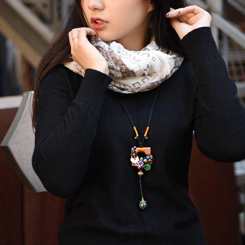 Áo Len cổ điển Vòng Cổ cho phụ nữ Dân Tộc Dài Gỗ Vuông Mặt Dây Chuyền Vòng Cổ Tuyên Bố Dây Chuyền Đồ Trang Sức Thời Trang Dropshopping