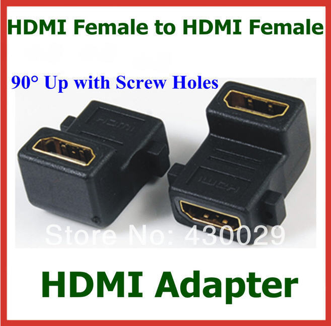 50pcs HDMI Female to HDMI Female 90 Degree Up Angle with Screw Holes Adapter HDMI Converter
