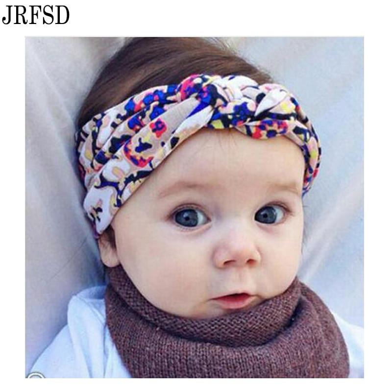 JRFSD 1 pc 2017 Cute Cool Printing Knot Elasticity Headband Cotton Hair Bands Kids Hair Accessories jrfsd cute solid color headband knot hair bands elasticity hairbands 100