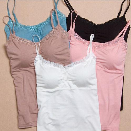 Women Soft Lace Padded Camisole Womens Bras Seamless Bra Padded Solid   Tank     Top   Straps Sleepwear Nightwear Pajamas