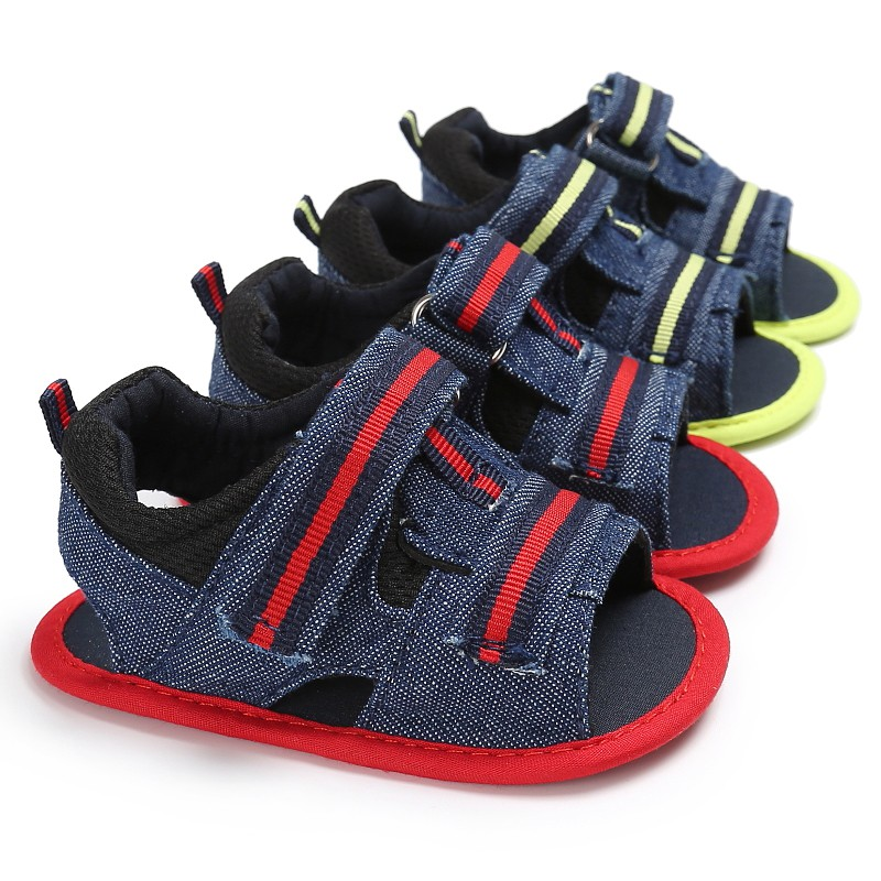 Baby Boys Summer Casual Stitching Fabric Hollow Breathable Anti-slip Hook And Loop Sandals Shoes