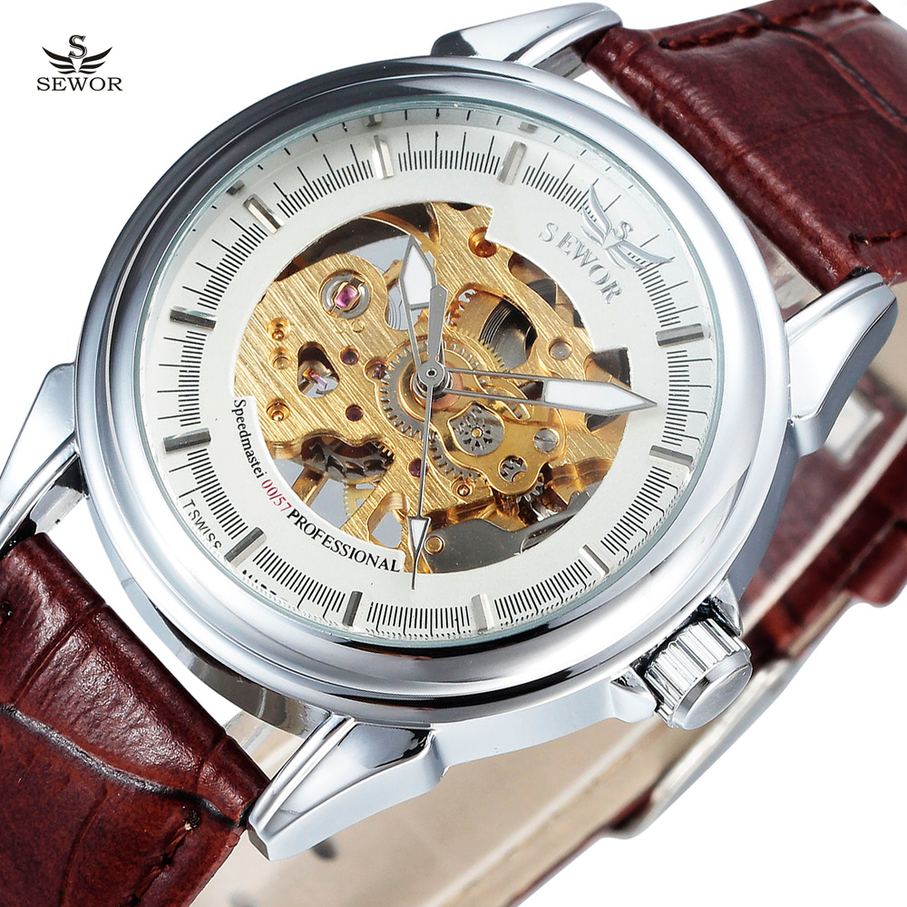 New Fashion Luxury Brand SEWOR Male Clock Skeleton Leather Strap Business Men Mechanical Hand Wind Wrist Watch Relogio Masculino 2016 forsining roman skeleton hollow fashion mechanical hand wind men luxury male business leather strap wrist watch relogio