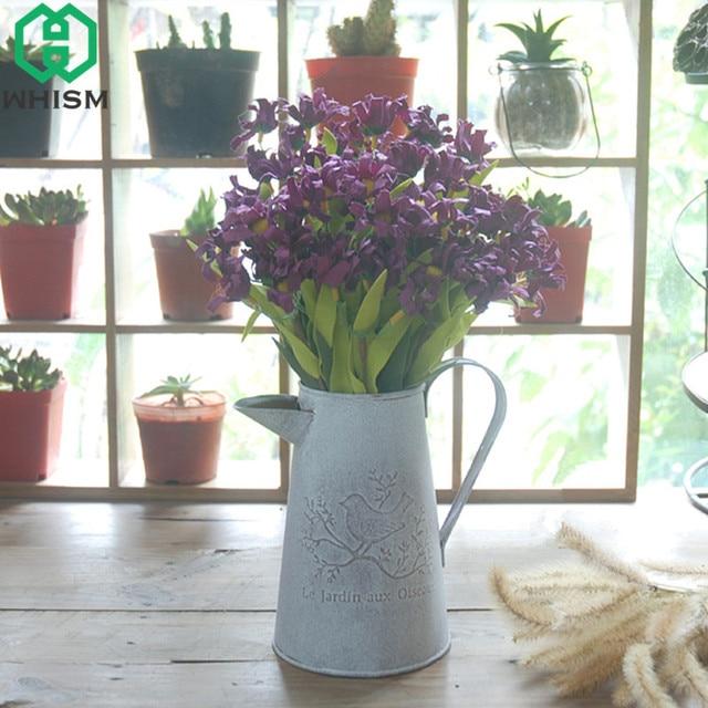 Whism Iron Watering Cans Flowers Bucket Metal Barrel Vases Vintage