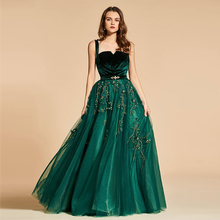 Verngo 2019 Green Evening Dress Appliques Tulle Evening Gown Elegant  Formal Dress Custom Made Evening Dresses Long