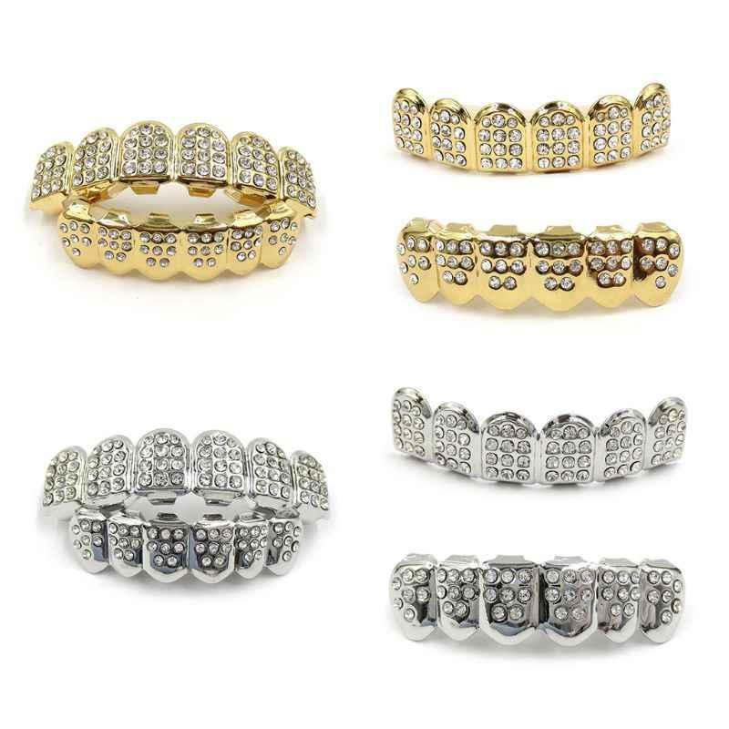 חדש Fshion היפ הופ זהב כסף אייס מתוך CZ שיניים Grillz למעלה תחתון גברים נשים תכשיטים