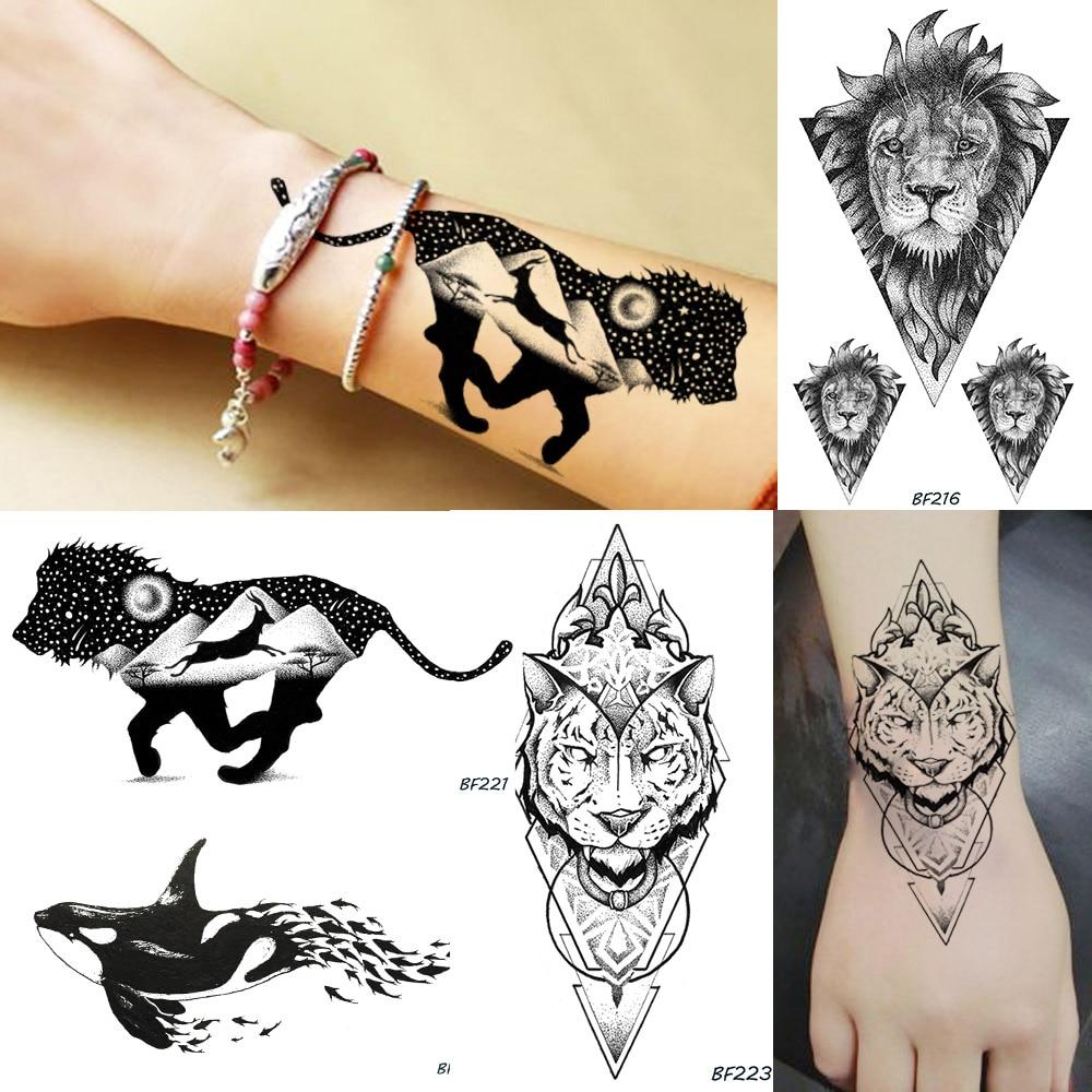 Galaxy Planets Mountain Men Temporary Tattoo Geometry King Lion Deer Waterproof Fake Tatoos Body Art Arms Legs Tattoo Stickers