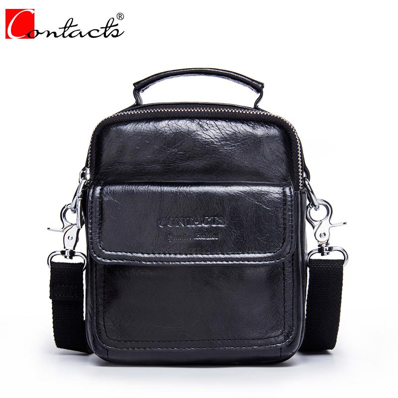 2018 New Style Men Bag CONTACT'S Genuine Cow Leather Messenger Bags Famous Small Male Shoulder Crossbody Bags Fashion Handbags neweekend genuine leather bag men bags shoulder crossbody bags messenger small flap casual handbags male leather bag new 5867