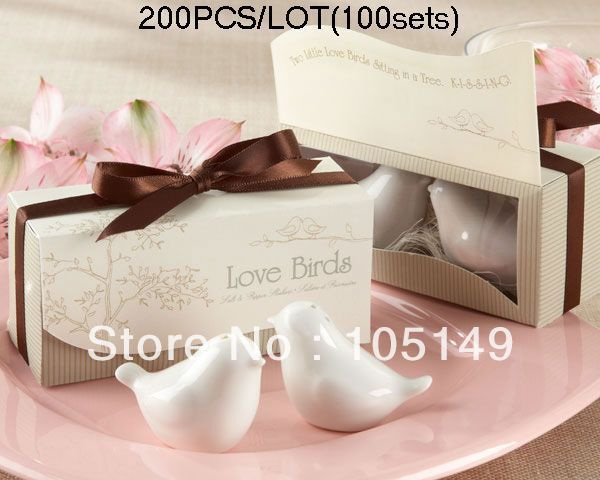 Wedding Gift set Lovebirds salt and pepper shaker wedding favors 200pcs/lot(100sets) Express Free Shipping Wholesale