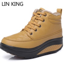 LIN KING New Women Winter Shoes Wedge Heel Elevated High top Casual Fashion Platform Warm Swing