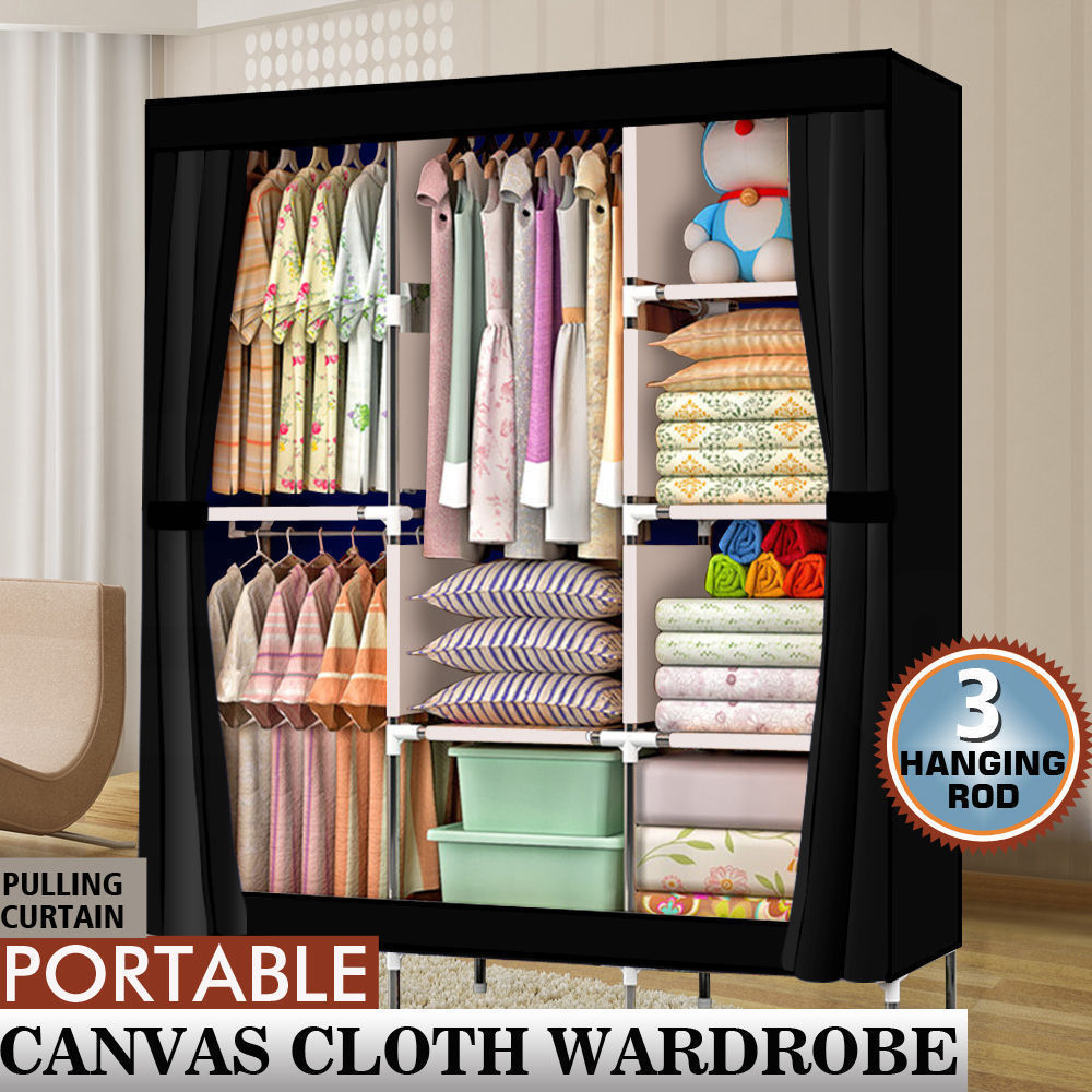 "71"" Portable Closet Wardrobe Clothes Rack Storage Organizer with Shelf Black(China)"