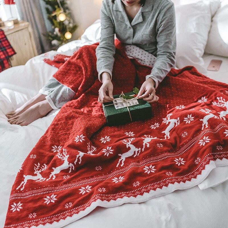 Теплое двустороннее рождественское вязаное одеяло рождественское покрывало с изображением оленя и снежинок акриловое моющееся покрывало для кровати, дивана