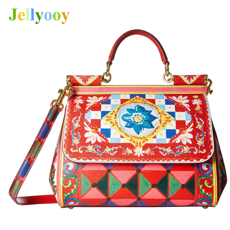 Luxury Italy Brand Sicily Ethnic Floral Printing Bag Genuine Leather Casual Tote Platinum Bag Lady Shoulder Messenger Bag Bolsas luxury italy brand sicily ethnic bag genuine leather women casual tote platinum bags star moon print lady shoulder messenger bag