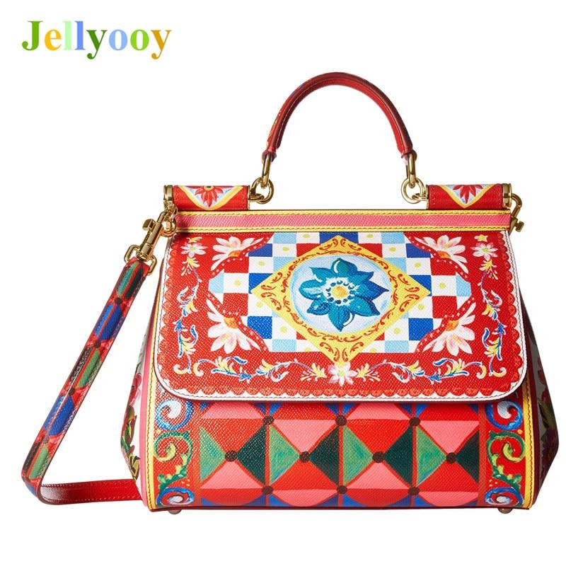 Luxury Italy Brand Sicily Ethnic Floral Printing Bag Genuine Leather Casual Tote Platinum Bag Lady Shoulder Messenger Bag Bolsas все цены