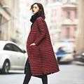 Moda das Mulheres Para Baixo Wadded o Revestimento 2016 Sobre O Joelho Longo Jacket Coats Feminino Single-Breasted Mulheres Casaco de Inverno Parka Femme C2453