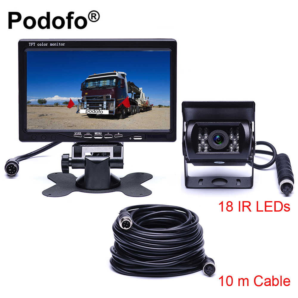 Podofo DC 12V-24V 7TFT LCD Car Monitor Display + 4 Pin IR Night Vision Rear View Camera for Bus Truck RV Caravan Trailers