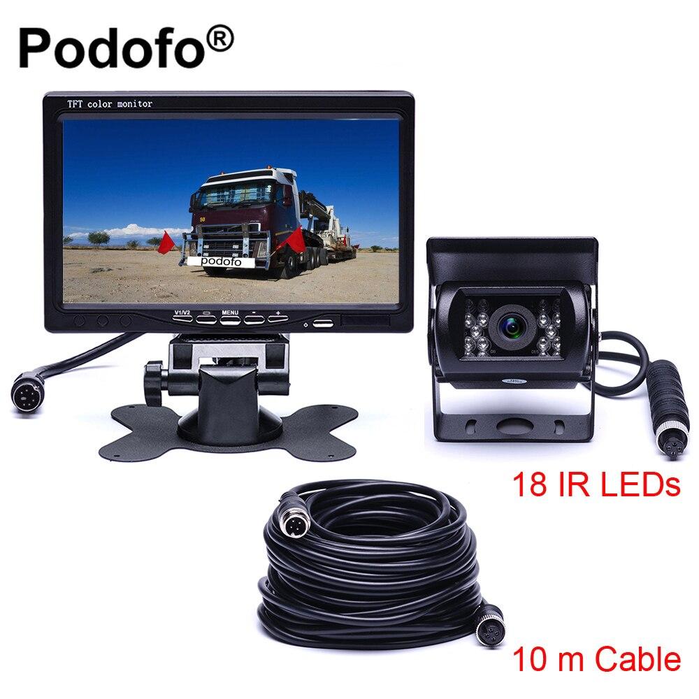 Podofo DC 12 V-24 V 7 TFT LCD Moniteur de Voiture + 4 Broches IR Vision Nocturne Caméra de Recul pour Bus Camion RV Caravane remorques
