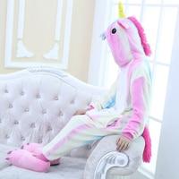 Colorful Unicorn Onesie Kids Kigurumi Unicornio Flannel Winter Kawaii Hoodie Pyjama Children Animal Blanket Sleepers Pajamas