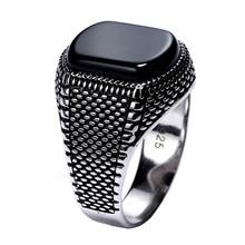 Турция ювелирные изделия черное кольцо мужской светильник-вес 6 г настоящие 925 пробы серебряные мужские кольца натуральный камень оникс Винтаж крутая Мода