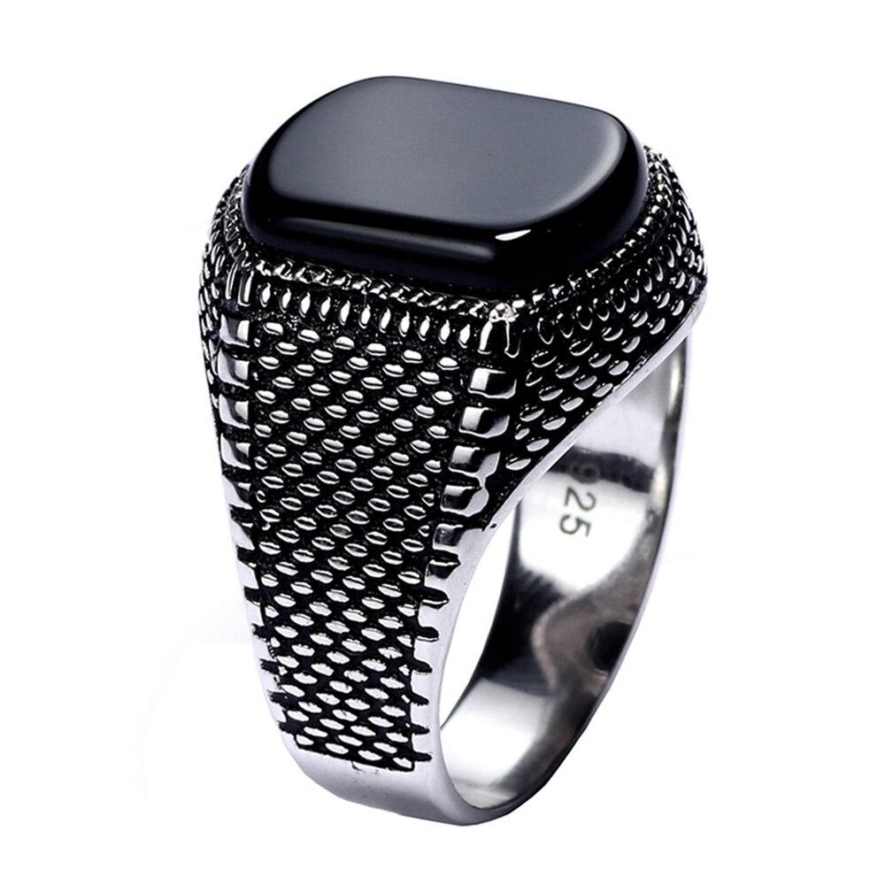 Türkei Schmuck Schwarz Ring Männer Licht-gewicht 6g Echt 925 Sterling Silber Herren Ringe Natürliche Onyx Stein Vintage coole Mode